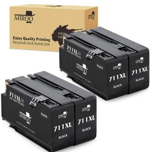 MIROO 4 Pack Compatible Ink Cartridge Replacement for HP 711 XL Black Ink Cartridge Compatible with HP Designjet T120 T520 24'' 36'' Printer