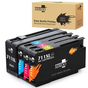 MIROO High Yield Compatible Ink Cartridge Replacement for HP 711 711XL ink Cartridge 4 Pack Worked with HP Designjet T120 T520 Printer