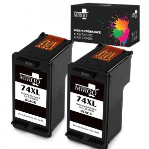 MIROO Remanufactured Replacement for HP 74 74XL Ink Cartridges 2 Black,Use on HP Officejet J6480 J5780 J5780 Deskjet D4260 D4360 Photosmart C4280 C5280 C4480 C4580 C4385 C5580 C5550 D5360 Printer